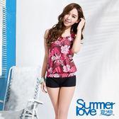 【夏之戀SUMMERLOVE】夏日棕梠長版二件式泳衣(E13796)
