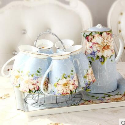 陶瓷杯子水杯套裝 冷涼水壺水俱骨瓷 熱水壺耐熱茶壺家用歐式客廳