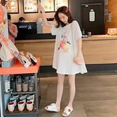 漂亮小媽咪 印花傘狀洋裝 【D9464】 質感 水果派對 傘狀 短袖 親膚 洋裝 孕婦裝