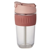 樂扣樂扣 清新耐熱玻璃兩用隨行杯(附吸管)-粉(500ml)【愛買】