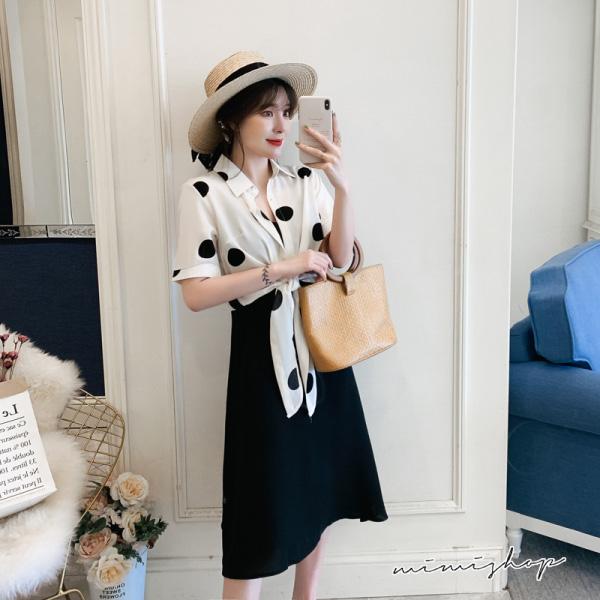 孕婦裝 MIMI別走【P521087】修身又有型 二件式 雪紡波點衫+吊帶裙 孕婦洋裝 長裙