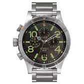 NIXON 48-20 CHRONO 潮流重擊運動腕錶-仿鏽x銀