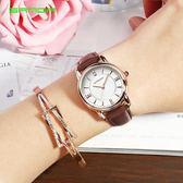 2018新款手錶女學生簡約時尚韓版潮流防水女錶紅色皮帶石英錶 至簡元素