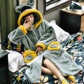 珊瑚絨睡衣女秋冬加厚長款睡袍連帽睡裙法蘭絨寬鬆加大碼胖mm浴袍 洛小仙女鞋
