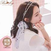 髮飾 韓國直送珍珠水鑽印花髮帶雙層髮箍-Ruby s 露比午茶