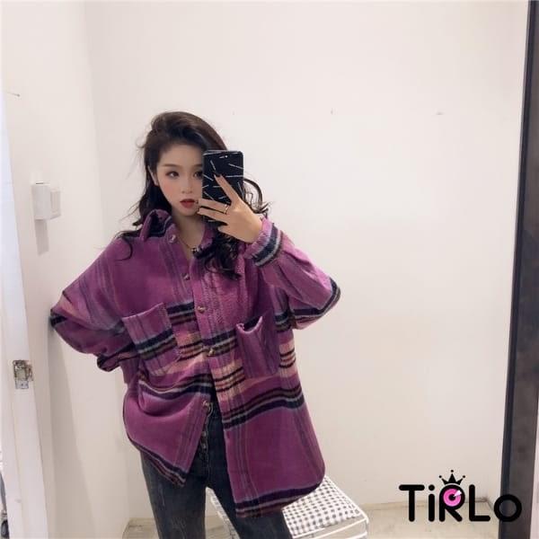 外套-Tirlo-毛呢襯衫格紋外套-兩色