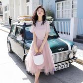 限時38折 韓國風繡花亮絲T網紗半身裙俏皮套裝短袖裙裝