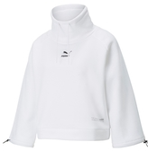 PUMA 上衣 衝鋒衣 白 短版 立領 抽繩 內刷毛 棉T 衛衣 女 (布魯克林) 53029902