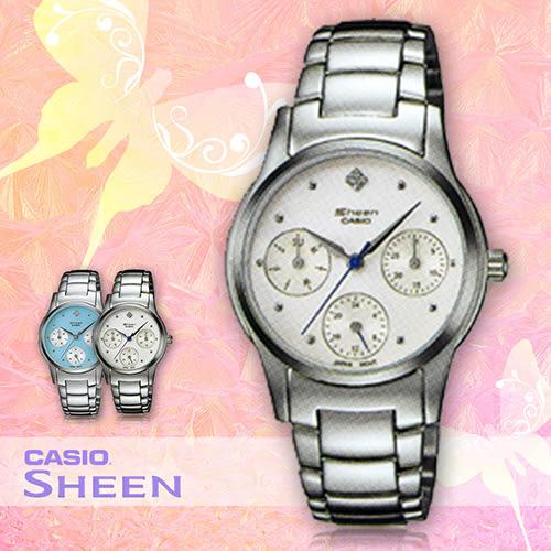 CASIO手錶專賣店 卡西歐 SHEEN SHN-3000D-7A 女錶 白面 三眼設計 不銹鋼錶帶