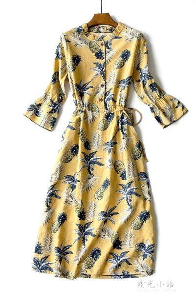 18春季新款泡泡棉麻連身裙 喇叭中袖碎花繫帶收腰開扣亞麻口袋裙 晴光小語