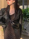 皮衣西裝外套女2021新款春夏百搭寬鬆網紅機車服長袖韓版開衫上衣2 幸福第一站
