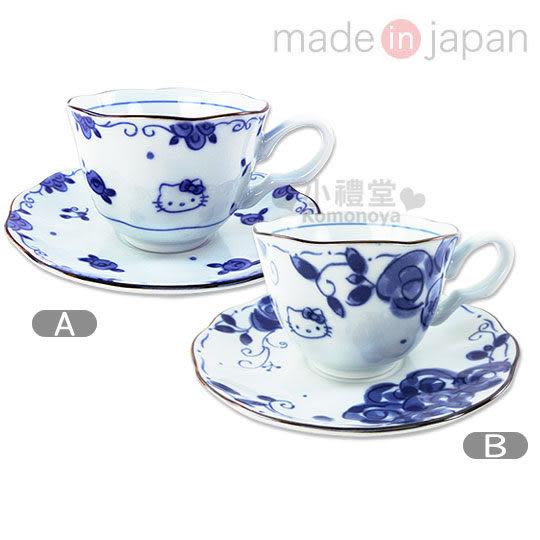 〔小禮堂〕Hello Kitty 日製陶瓷咖啡杯盤組《2款選1.白.藍玫瑰》精緻美濃燒.新生活系列4964412-3073_