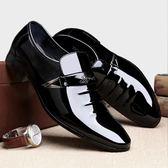 男皮鞋 正裝皮鞋 男鞋新款黑色套腳商務透氣大碼亮面尖頭皮鞋子潮商務男鞋子《印象精品》q566