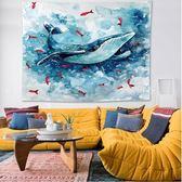 掛畫 創意鯨魚ins風北歐壁裝飾品上掛件宿舍家居飾掛毯掛布背景布 YTL 鹿角巷