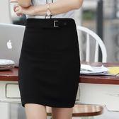 ZY-7179-PF百搭純色腰帶釦OL職業窄裙~美之札