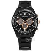 CITIZEN 星辰表 / CA4458-88E / 亞洲限定 光動能 藍寶石水晶玻璃 計時碼錶 日期 不鏽鋼手錶 鍍黑 43mm
