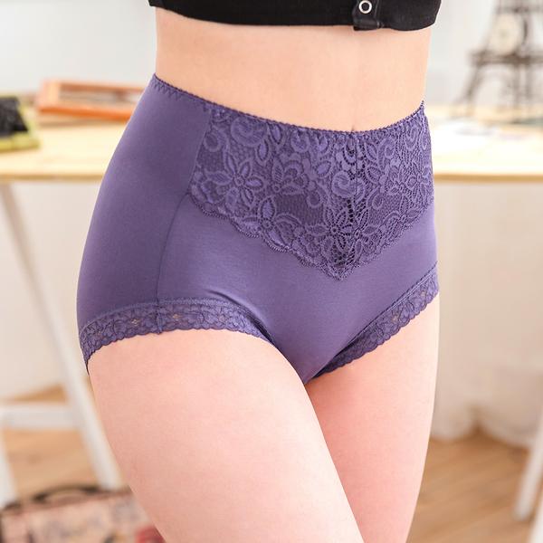 女性 MIT莫代爾高腰三角褲中大尺碼 吸濕排汗 蕾絲內褲 M/L/XL 台灣製造 No.2773-席艾妮SHIANEY
