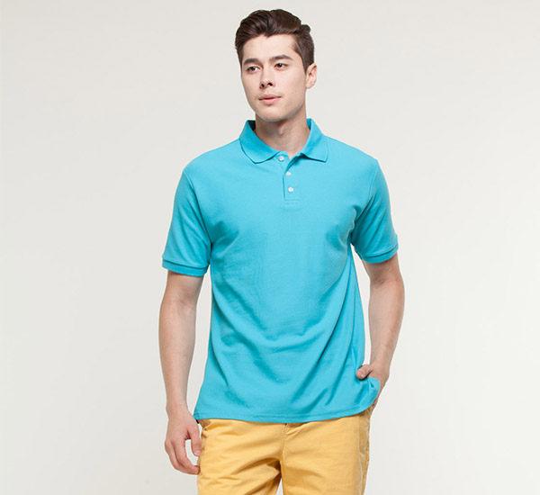 吸濕排汗降溫抗UV涼感衣Polo衫短袖情侶服親子裝 土耳其藍