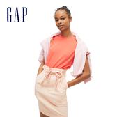 Gap女裝簡約純色褶皺繫繩半身裙542519-粉色
