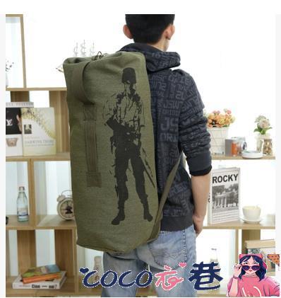 帆布後背包男 自由兵戶外登山包帆布旅行包後背背包大容量運動包男包女包水桶包 coco