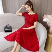 短袖洋裝素面連身裙S-3XL實拍連衣裙燈籠袖高腰顯瘦氣質很仙的短袖時尚連衣裙T513A.5871皇潮天下