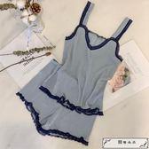 夏裝新款韓版花邊蕾絲吊帶睡衣睡褲短褲時尚休閑兩件套套裝女