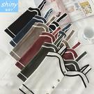 【V1908】shiny藍格子-涼夏美搭.拼色前排釦短款針織背心