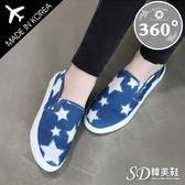 懶人鞋 正韓製 來自星星 雙色拼接 帆布 鬆緊帶 樂福鞋【F712874】二色 SD韓美鞋 360度