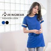 韓版--簡約優雅純色柔棉蕾絲花邊剪接短袖圓領長版上衣(黑.藍XL-5L)-D376眼圈熊中大尺碼