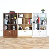 Homelike 萌多八格二門書櫃(三色可選)楓木+白色