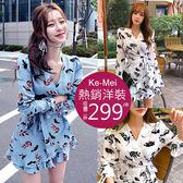 克妹Ke-Mei【AT54653】法式浪漫初秋花朵印花腰帶荷葉連身洋裝