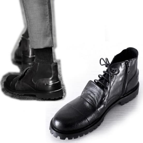 短靴馬丁靴軍靴中筒靴牛仔靴機車靴雪靴長靴鬆緊裝飾真皮牛皮鞋男靴男鞋200c19【Brag Na義式精品】