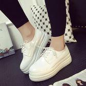 新款圓頭厚底松糕鞋潮平底休閒軟底小白鞋