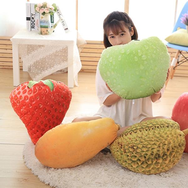 【葉子小舖】仿真水果草莓抱枕/水果蔬菜/沙發抱枕/辦公室小物/居家生活/家庭擺飾/絨毛玩偶