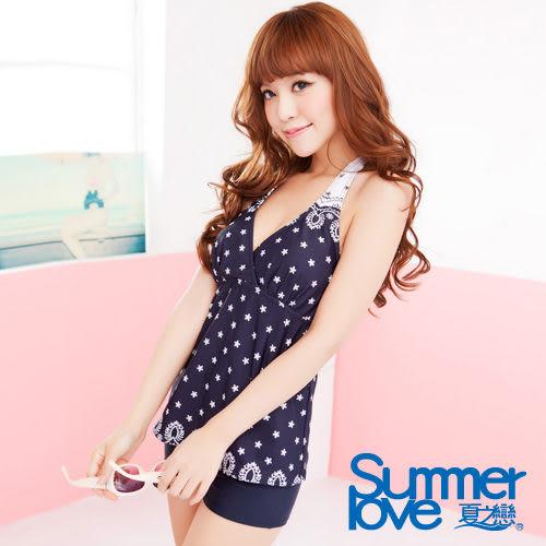 【SUMMERLOVE夏之戀】浪漫蕾絲印花長版二件式泳衣-S13722