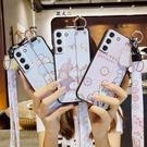腕帶情侶三星S21 Ultra手機殼 清新SamSung S21手機套 浮雕磨砂三星S21保護殼 卡通Galaxy S21+保護套