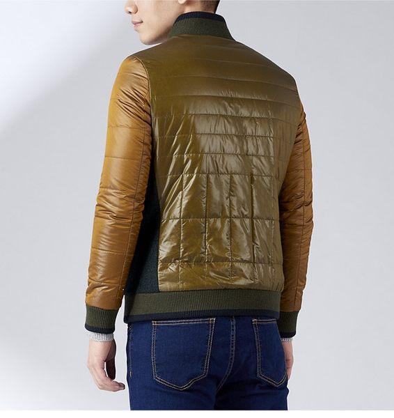 Christian 新式拼接撞色異素材剪接舖棉夾克_橄欖綠(KW302-45)