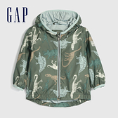 Gap嬰兒 童趣恐龍印花連帽外套 577201-復古棕櫚色