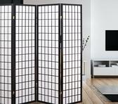 【全球生活家】和風日式方格四片式實木屏風/玄關屏風-黑色-178cm(PT801)-台灣製