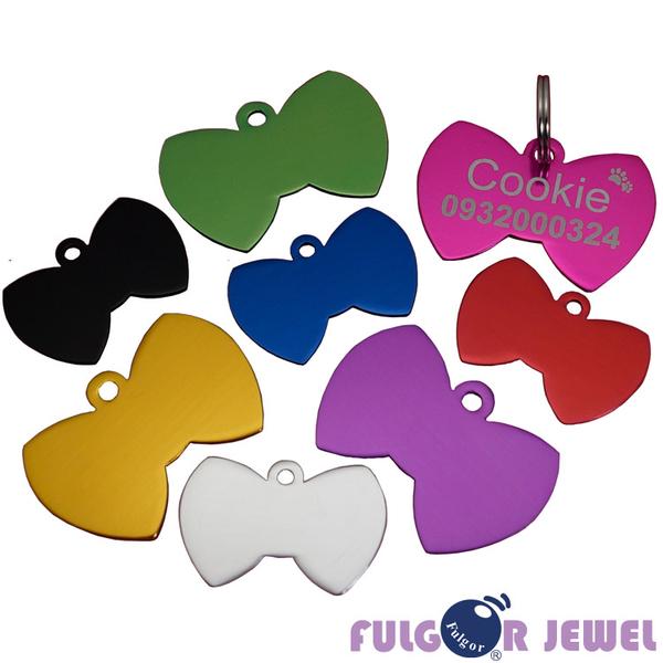 【Fulgor Jewel】富狗 客製化 寵物吊牌 名牌 鋁質領結造型 免費雕刻單面(限文字)
