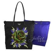 茱麗葉精品【全新現貨】PRADA 1BY300 玫瑰花風尼龍皮飾邊托特包兩件組.黑/藍