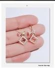 歐美風幾何鑲鑽蝴蝶結耳環