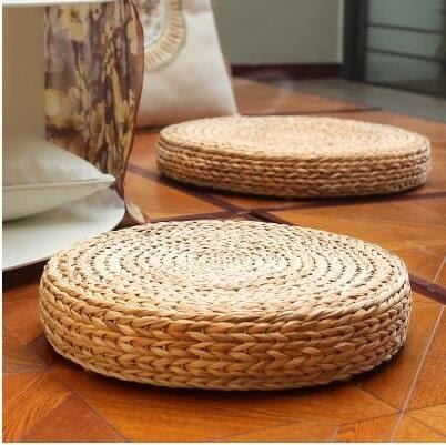 天然籐編蒲團坐墊榻榻米圓形加厚和室茶道墊子禪修靜坐【香蕉葉(植物原色)】