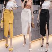 中大尺碼開叉裙夏女中長款綁帶不規則OL包臀裙一步裙 nm5509【VIKI菈菈】