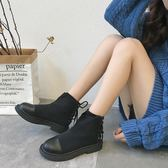 YAHOO618☸ 新款復古短靴女 系帶 針織彈力 馬丁靴mousika