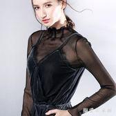 秋冬高領薄款黑色蕾絲打底衫長袖透明透視內搭網紗修身亮絲上衣 QQ16824『樂愛居家館』