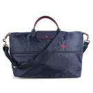 LONGCHAMP 1911 Le Pliage刺繡延展夾層旅行袋(海軍藍)480212-556