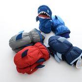 冬季新款兒童手套加厚保暖卡通鯊魚男童滑雪手套小孩寶寶防滑手套 鹿角巷