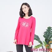 【RED HOUSE 蕾赫斯】花朵傘狀上衣(桃紅色)