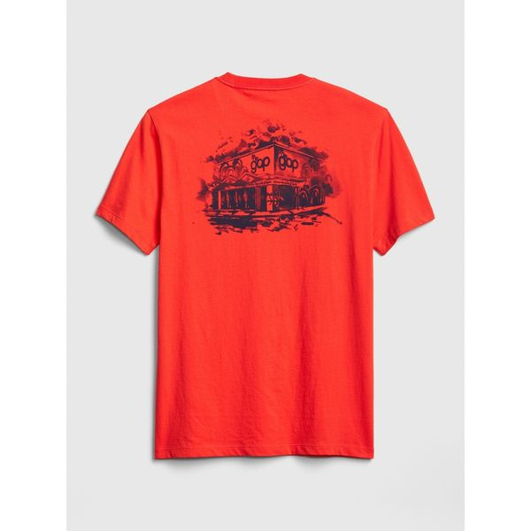 Gap男裝 Logo圓領短袖口袋T恤 465896-珊瑚紅